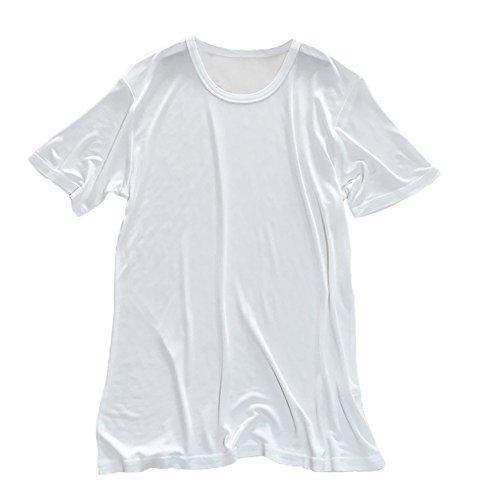 LSHARON Herren T-Shirt aus 100 % Maulbeerseide, gestrickt, Rundhalsausschnitt, kurze Ärmel Gr. M, weiß