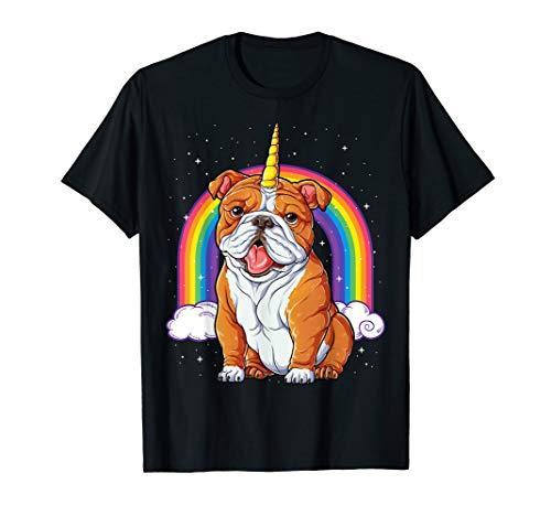 Englische Bulldogge Einhorn T Shirt Frauen Lustig Hund Welpe