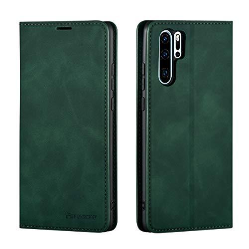 QLTYPRI Funda para Huawei P30 Pro, de piel fina, con tarjetero, función atril, compatible con Huawei P30 Pro, color verde
