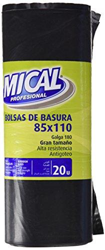 Mical - Bolsas de basura - 85x110 Gran Tamaño - 20 unidades - [Pack de 4]
