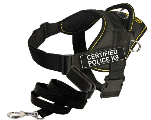 Dean and Tyler Bundle One DT Fun Works Harness, Certified Police K9, Yellow Trim, Small + One Padded Puppy Leash, 6-Feet Stainless Snap, Black
