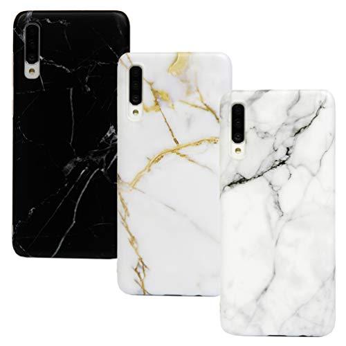 Vogu'SaNa Kompatible für Handyhülle Samsung Galaxy A70 Hülle Silikon Matt Marmor Muster Case Cover Marble Tasche Dünn Schutzhülle Handytasche Skin Softcase Schale Bumper TPU Handycover*3 Etui Fall-1