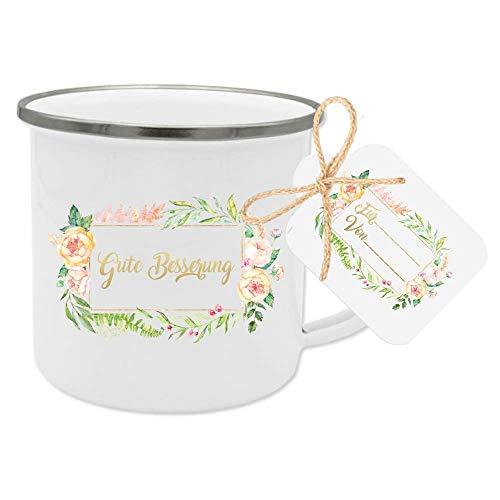 """Besonderes Geschenk - Tasse\""""Gute Besserung\"""" mit Geschenk-Anhänger zum Personalisieren"""