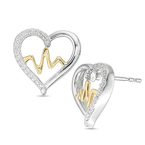 2Hearts 1/10 CT. T.W. Pendientes de botón con forma de corazón de diamantes con circonitas transparentes en forma de corazón para mujer en plata de ley 925 y chapado en oro amarillo de 10 quilates