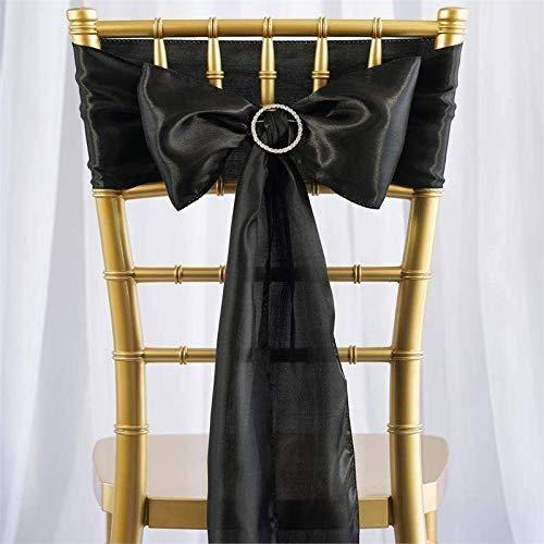 Efavormart 25pcs Black Satin Chair Sashes Tie Bows for Wedding Events Decor Chair Bow Sash Party Decoration Supplies 6 x106