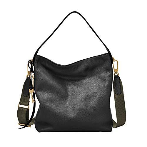 Fossil Women's Maya Leather Small Hobo Purse Handbag, Black