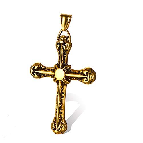 Punk Edelstahl Retro Rune Anhänger Kreuz Halskette für Männer Rock Schmuck -Gold keine Kette