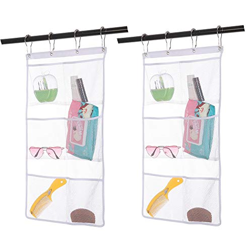 2 Pack Hanging Mesh Shower Caddy Organizer with 6 Pockets, Shower Curtain Rod/Liner Hooks Bathroom Toiletry Wall Door Hanger Organization, Dorm Space Saving, Kids Bath Toy Organizer with 4 Rings