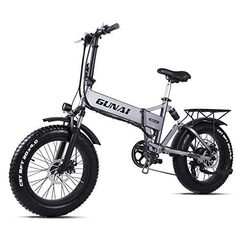 Bicicleta Eléctrica 500W 20 Pulgadas 48V 12.8Ah Neumático Gordo Ciclismo de Playa Bicicleta de Montaña Suspensión Completa MTB Ebike 7 Velocidad Variable(Plata)