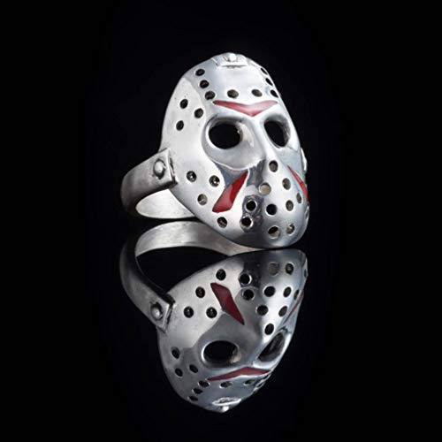 HQLCX Vintage Horror-Film Jason Mask Men Ring Kreative Silber Farbe Übertriebenen Punk Biker Ringe, 8