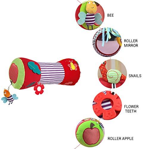 Fyeep Krabbelrolle Baby Motorikspielzeug Kissen, Stoff-Rolle mit verschiedenen Spielmöglichkeiten - hilft Babys bei ersten Krabbel- & Gehversuchen