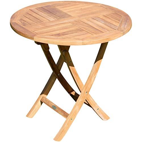 ASS Teak runder Klapptisch Gartentisch Holztisch Garten Tisch rund 80cm JAV-Coamo Teakholz