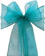 mds Pack of 25 Organza Chair sash Bow Sashes for Wedding and Events Supplies Party Decoration Chair Cover sash -Light Teal