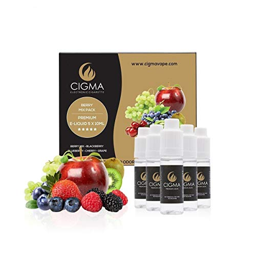 CIGMA 5 X 10ml E Liquid   Beeren Mix   Blaubeere   Brombeere   Kirsche   Traube  Neue Premium-Qualität Formel mit nur hochwertigen Zutaten   VG & PG Mix   Für Elektronische Zigaretten und E Shisha