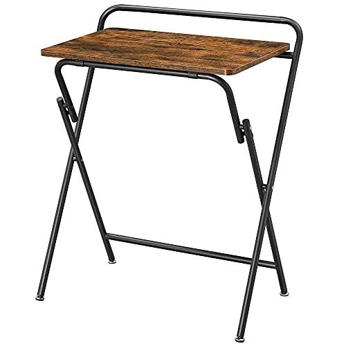 VASAGLE Beistelltisch Klappbar, Kleiner Schreibtisch, Klapptisch Snack Tisch, platzsparend, Sofatisch für Homeoffice, Wohnzimmer, einfacher Aufbau, vintagebraun-schwarz LET370B01