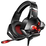 RUNMUS Gaming Headset Xbox One Headset PS4 Headset with 7.1 Surround Sound Noise Cancelling Mic & LED Light, Compatible with Xbox One (Adapter Not Included) PS4 PC Laptop (Renewed)