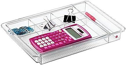 mDesign Organizador de escritorio extensible – Útil bandeja de oficina para mesa de despacho o cajón – Con divisiones para marcadores, post-it, clips, etc. – Ampliable hasta 47 cm de ancho