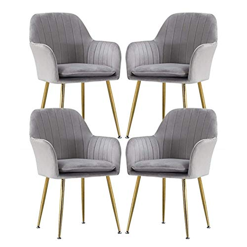 Set of 4 Velvet Dining Chair Metal Legs Armchair with Upholstered Soft Seat & Backrest for Kitchen Lounge Bedroom Living Room Accent Tub (Color : Gray)