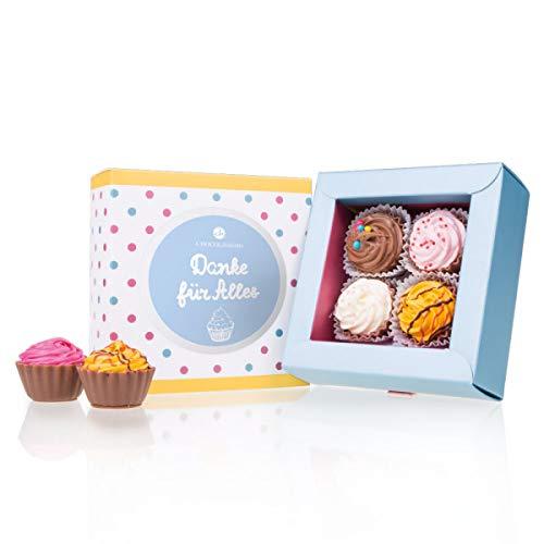 4 American Cupcakes - Danke - Dankeschön Geschenke | Danke für alles Schokolade | Süßigkeiten | besondere Pralinen als Dankeschön | originelles Geschenk zum Danke sagen | Dankesgruß