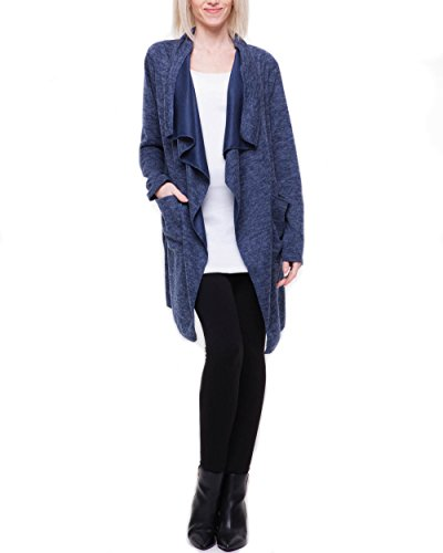 Fashion You Want Cardigan Sweatjacke Bolero Strickjacke Wasserfallkragen Basic Jacke (44/46, C01)