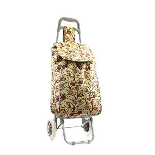 Zone - Owl Print Shopping Trolley Bag in Beige - Size 1 UK - Beige