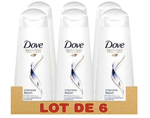 DOVE - Champú reparador intenso, 250 ml, Pack de 6