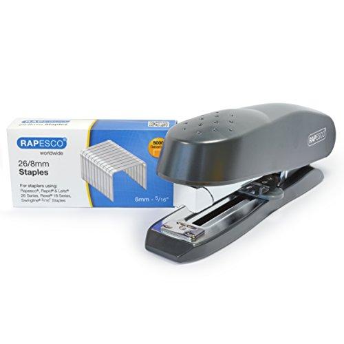 Rapesco 1280 Set Cucitrice a Spina con Caricamento Frontale e Punti da 26/8mm, Confezione da 5000 Pezzi, Nero