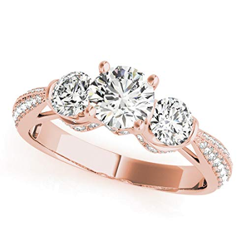 Bridal Set Ring with 1.75 cttw (3/4 Carat Center Stone) of Natural Round Shape Diamonds available in 14K White, Yellow or Rose Gold.Free Designer Gift Box.Free Certificate.