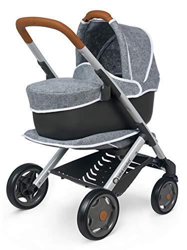 Smoby 253105 - Silla de paseo y cochecito 3 en 1 para muñecas y muñecas, ruedas silenciosas y multidireccionales, cesta de almacenaje