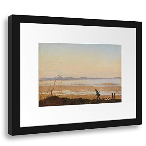 Passe-partout (38x30cm): Johan Thomas Lundbye - Wieczór nad jeziorem Arresø