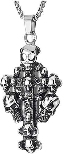 YUNQIYZH Co.,ltd Hombres s Grande clásico de Moda Personalidad Encanto Acero Retro cráneo círculo Cruz Colgante Collar Colgante Collar niñas niños Regalo