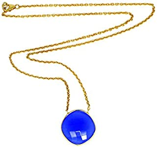 Blue Chalcedony Necklace, Gold Plated Long Chain, Blue Stone Pendant, Womens Jewelry
