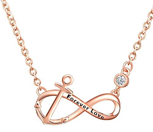 INFINIONLY Collare para mujer niña, collar de plata 925, collar de símbolo de infinito, collare de símbolo de infinito ancla decorativo, circón con incrustaciones, juegos de joyas para mujer, oro rosa