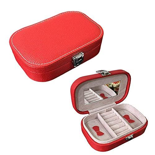 SMEJS Organizador de caja de joyería, pequeña caja de almacenamiento de joyería de viaje, cuero sintético simple con soporte para espejo para anillos, pendientes, collar, pulseras, regalo, niñas,