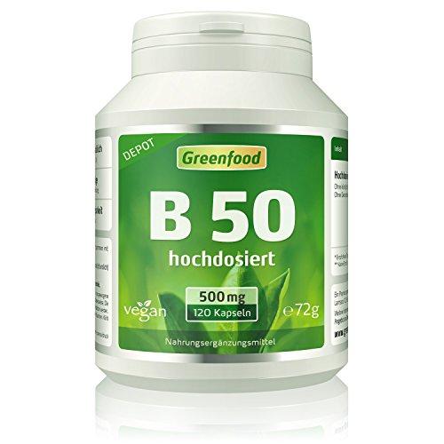B 50, Vitamine der B-Gruppe, hochdosiert, 120 Kapseln – DEPOT. OHNE künstliche Zusätze. Ohne Gentechnik. Glutenfrei. Lactosefrei. Vegan.