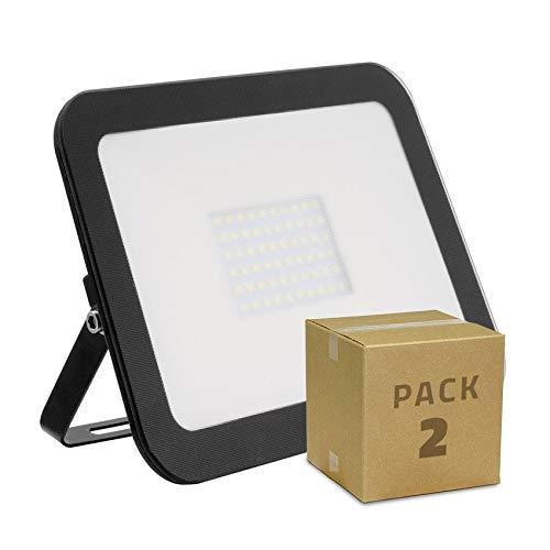 LEDKIA LIGHTING PACK Projecteur LED Extra-Plat Crystal 50W Noir (2 Un) Blanc Neutre 4000K