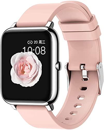 QHG Smart Watch, Rastreador Impermeable Tracker Monitor de Ritmo cardíaco Oxígeno portátil Presión Arterial Rastreador de Fitness Bluetooth Reloj Watch (Color : Red)