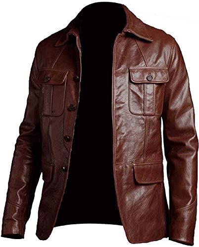 Chaqueta de cuero auténtico estilo vintage con cuatro bolsillos para hombre