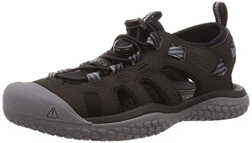 KEEN Women's SOLR High Performance Sport Closed Toe Water Sandal, Black/Steel Grey, 5.5