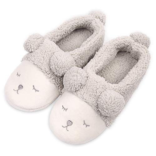 Caramella Bubble Women Fleece Lined Slip On Memory Foam Sheep House Slippers Low Grey