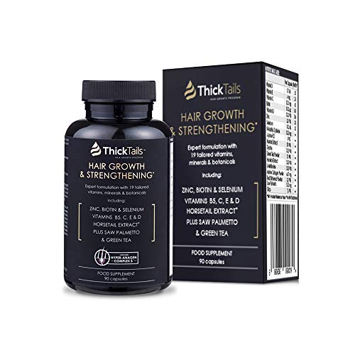 ThickTails Hair Growth Vitamins Pills - For Women With Thinning Hair Due to Menopause & Stress. Natural Hair Growth Formula. Regrowth. With Biotin Saw Palmetto Horsetail. DHT Blocking. 1 Month Supply