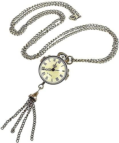 WYDSFWL Collar Reloj de Bolsillo Estilo Ojos de Pesca Estilo Retro Collar de Cuarzo Blanco Bolsa Reloj Cadena Cinturón Regalo