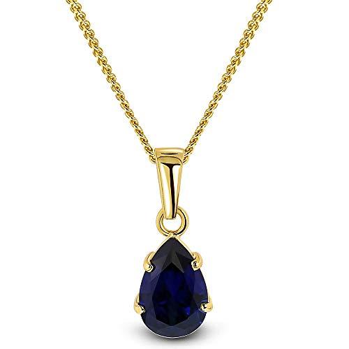 Miore Kette Damen Halskette mit Tropfen Anhänger Edelstein/Geburtsstein Saphir in blau Kette aus Gelbgold 9 Karat / 375 Gold Halsschmuck 45 cm lang