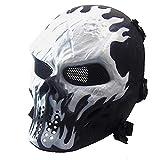 Máscara de airsoft blanco con máscara completa de esqueleto de metal negro para Halloween, máscara táctica para juegos de fiesta, cosplay, ciclismo, decoración para adultos y jóvenes