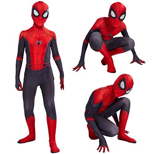 WOLJW Kostüm Spiderman Kostüm Cosplay Kleidung für Kinder Lycra Spandex Zentai Spinne Verse Miles Morales Overall Bodysuit,XL