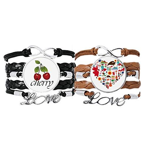 Bestchong Pulsera de piel con diseño de corazón español, con bandera de flamenco, cuerda de cuero y cereza, juego doble