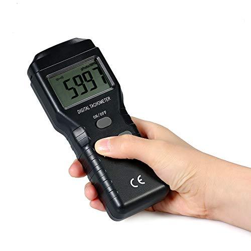 NOBGP Medidor Digital de RPM del tacómetro, fotómetro de Mano Digital Profesional sin Contacto 2.5~99,999 RPM Precisión para Motor, Ruedas, Torno de Metal o Madera