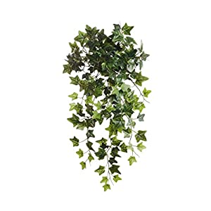 Larksilk English Ivy Bush, Artificial Ivy Vine, Rich Green Hues, Hanging Basket Decor, Window Box Decor, Indoor Decoration, Outdoor Planter – 19″ Faux Plant with 204 Green Leaves