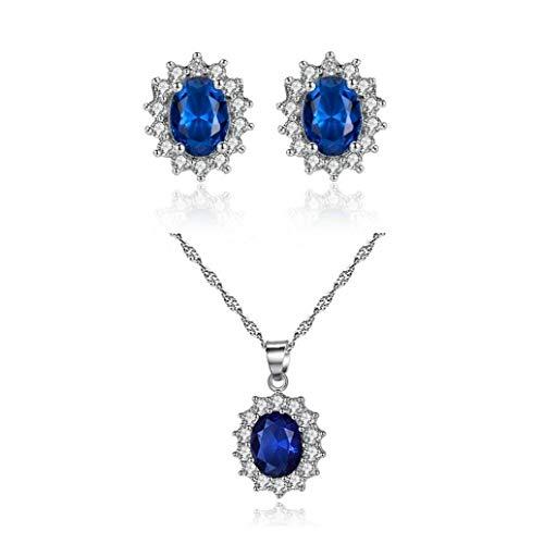Pendientes de Zafiro Artificial y Conjunto Estilo pavimentada Rhinestone Collar Retro del Collar a Juego con el oído de la joyería de la Boda del Perno Prisionero hipoalergénico joyería de fantasía