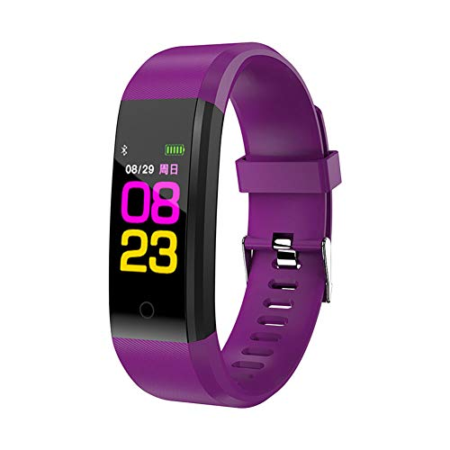Teekit Montre connectée Bluetooth avec moniteur de fréquence cardiaque et de pression artérielle Violet